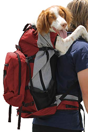 K9 Sport Sack | Dog Carrier Backpack for Small and Medium Pets | Front Facing Adjustable Pack with Storage Bag | Fully Ventilated | Veterinarian Approved (Large, Rover - Red)