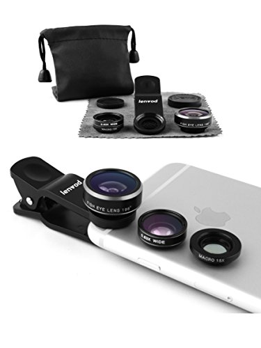 lenvod Phone Lens – LK-01 – Phone Camera Lens – 198 Fisheye lens – Macro Lens 15x – Wide Angle Lens 0.63x – 3 in 1 – for iPhone/Samsung – Other Smartphones (Silver)