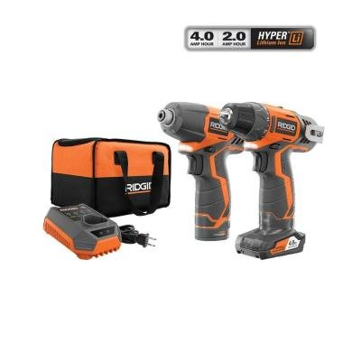 (Ridgid R9000K 12V Hyper Lithium-Ion Drill / Driver Combo Kit (Includes: 1 x R82005 Drill, 1 x R82230 Impact Driver, 1 x AC82049 2AH Battery, 1 x AC82059 4AH Battery,)