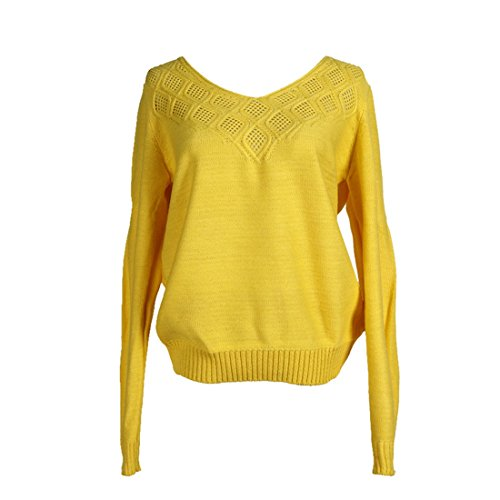 Femme Tricots Jaune Sfit Casual pour Pullover Automne Pull Tops Longues Hiver Printemps Manches Sweater 0qWgdnrq