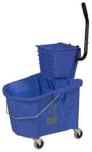 Continental 335-312BL, Blue 35 Quart Splash Guard Mop Bucket with SW12 Side-Press Wringer (Case of 1)