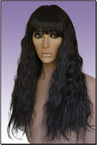 [Hollywood_Hair4u - Long Brown/Black Mix Crimped Wavy Wig with Bangs and Skin Top Part Kanekalon Ne] (Hollywood Celebrities Halloween Costumes)