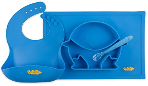 Baby Yum Yum Silicone Placemat Set With Bib, Stay Put Placemat and Spoon (blue) (Baby Yum Gift Yum)