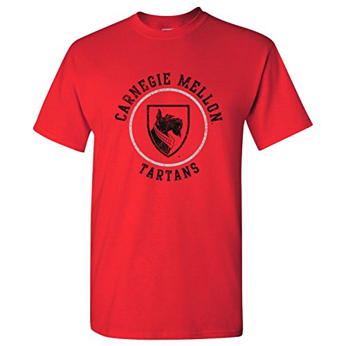 AS04 - Carnegie Mellon Tartans Distressed Circle Logo T-Shirt - Large - Red (Plaid Tee Logo)