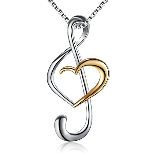 (Musical Note Necklace Pendant) 925 Sterling Silver Jewelry For Women, Box Chain 18
