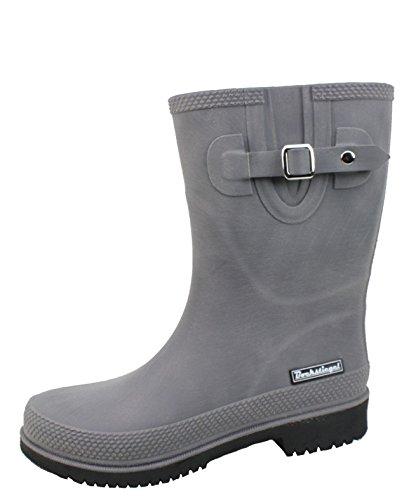BOCKSTIEGEL® JETTE - Standard/K/KB Botas de goma cortos para Mujer | Hebilla del lado de moda | Logotipo de la marca | Producción europea | Acogedor KB grey / black