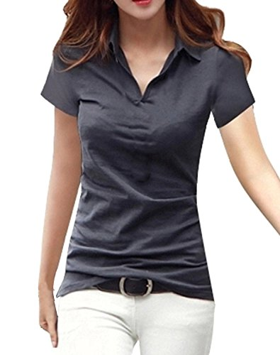 同様の家具スキーム[ルナー ベリー] Vネック 襟付き カットソー 半袖 長袖 スリム Tシャツ レディース トップス