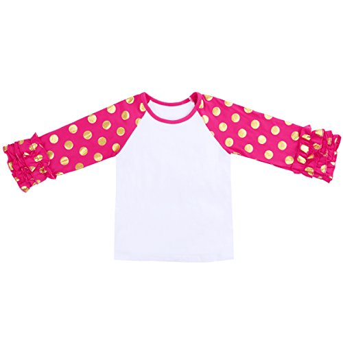 4 Girls Fitted T-shirt (Toddler Little Girls' Long-Sleeve Icing Ruffle T-Shirt Raglan Shirts With Gold Dot 2-8 Years)
