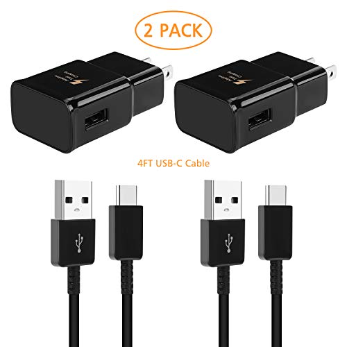 Adaptive Fast Wall Charger and 4-Feet USB Type C Data Cable Kit Compatible with Samsung Galaxy S10/S10+/S9/S9+/S8/S8+/Active/Note 8/Note 9 & Other Smartphones (2 Packs)