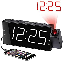 Projection Alarm Clock for Bedrooms, Digital Alarm Clock with Large 7 LED Display & Dimmer, 180° Projector, USB Charger, 12/24 H, DST, Snooze, Battery Backup, Desk Wall Ceiling Clock for Kid Elderly