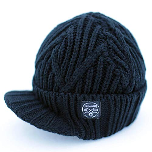 Stripe Visor Beanie - Born to Love Knuckleheads - Gray Boy's Baby Visor Beanie Hat with Stripes Detail (XS, Black Cable Knit)