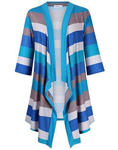 Clearlove Women's Kimonos Geometric Print Drape Boho Open Front Cable Knit Sweater Cardigans XX-Large Striped 2