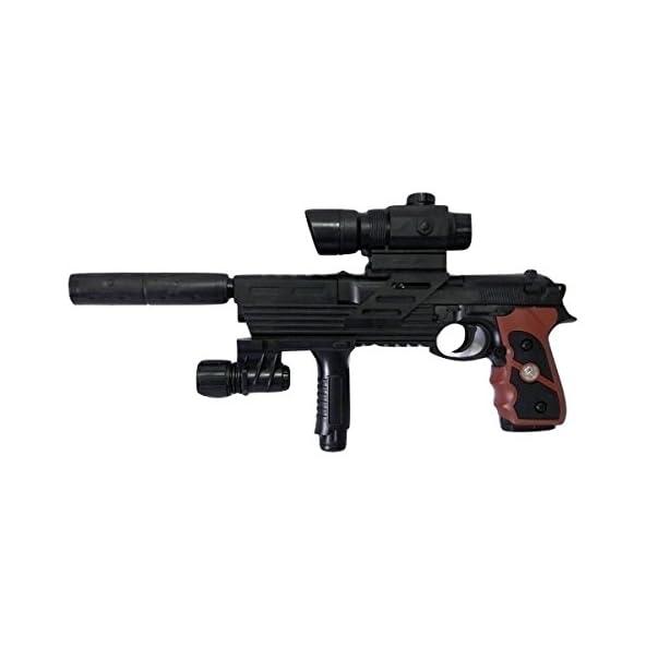 Babygo Glock Pistol 3 In 1 Laser Toy Gun With Extra 150+ Bullets – Black