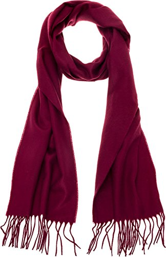 100% Cashmere Wool Scarf - Super Soft 12 Inch x 64.5 Inch Shawl Wrap w/Gift Box for Women and Men, Burgundy