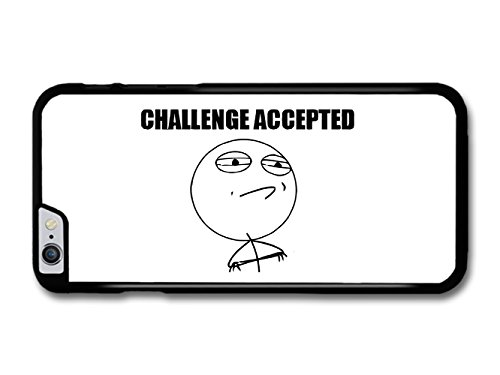 Meme Challenge Accepted Black and White Illustration Emoticon Emoji coque pour iPhone 6 Plus 6S Plus