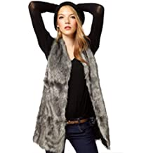 Leyorie Faux Fur Vest Jacket Sleeveless Winter Body Warm Coat Long Waistcoat Gilet Outwear for Women