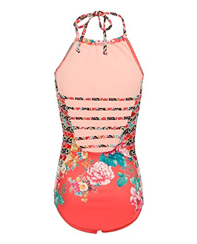 iDrawl One Piece Floral Swimwear for Kid Girls, Bright Orange Beach Sport Swimsuit by iDrawl (Image #3)