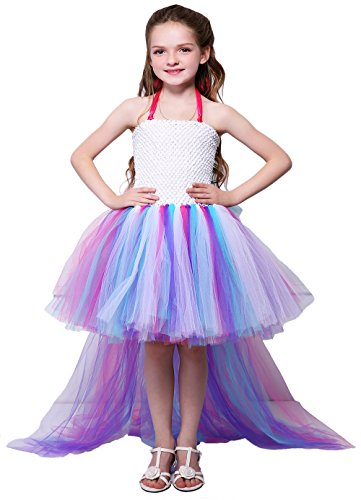 Tutu Dreams Unicorn Dress for Girls Size 10-12 Long Train Purple Tutu Dresses Birthday Party (12,Pony) ()