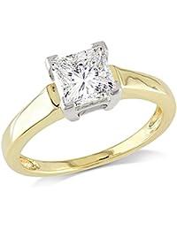 IGI Certified 1.01 Carat (Ctw) 14K White & Yellow Gold Princess Diamond Ladies Engagement Ring 1 CT