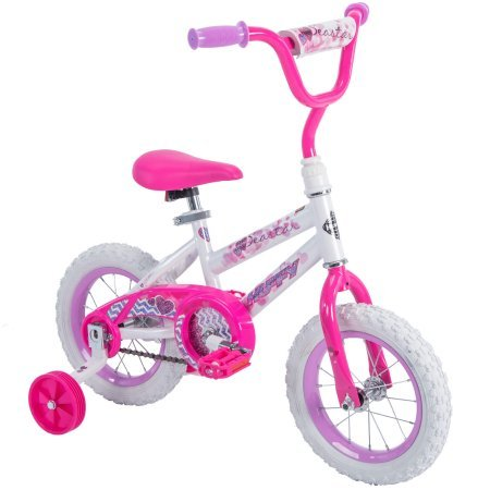 Huffy 12'' Sea Star Girls' EZ Build Bike,Comes with Easy-to-Use Coaster Brake and Wide Training Wheels,Fun Decorative Pattern Accented with Hearts and Glitter,Pearl White Frame,Hot Pink Fork,Great Gift by Generic (Image #4)