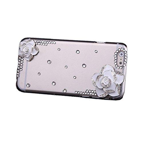 TOOGOO (R) Luxus Freier Transparenter Kristall Bling Strass Diamant Weisse Blumen Harte Rueckseitige Abdeckung Schutzhuelle fuer Apple iPhone 6