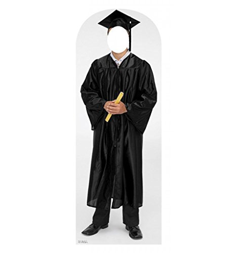 Male Graduate Black Cap & Gown Stand-In - Advanced Graphics Life Size Cardboard Standup