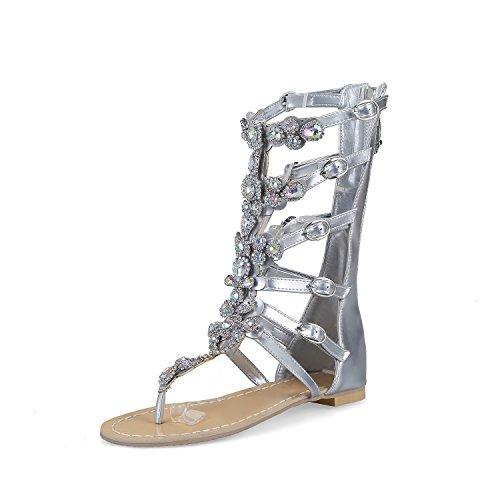 Botas HBDLH Thirty De Los Fondo Hebillas Mujer Taladro Sandalias five Y Bolsas Frio Pies Zapatos Plano Dedos De ZZq5rp4