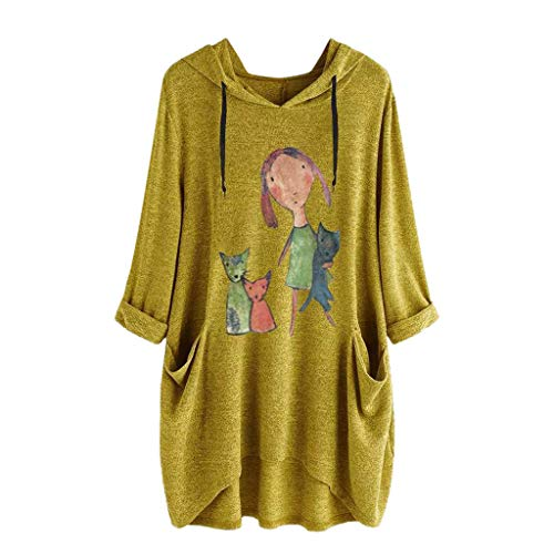 Toimothcn Girls Cute Tops Womens Cat Ear Hooded Blouse Long Sleeve Pockets T Shirt Tunic (Yellow1,XXXXL)