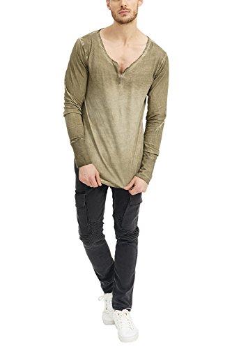 72783dcc777d3 Longue Slim Col Swag Tee Casual Fit Shirt Homme Kaki amp; Mode Rond Basique Manche  manche ...