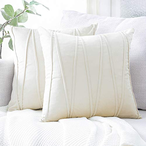 (Top Finel Cream Decorative Throw Pillow Covers 18 x 18 Inch Soft Solid Velvet Cushion Covers for Couch Sofa Bed 45 x 45 cm, Pack of 2, Off White)