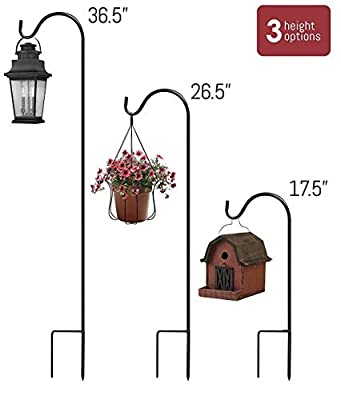 Extendable Shepherd Hooks,36.5 inch Black Garden Planter Stakes-Heavy Duty Rust Resistant Premium Metal Hook Hangers for Weddings, Plant Baskets Solar Lights Lantern Bird(4 Pack)