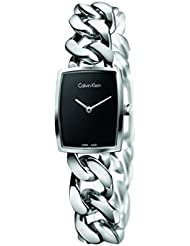 Calvin Klein Womens Stainless Steel Rectangle Watch with Metal Band - Ladies Analog Black Face Luxury Swiss Made...