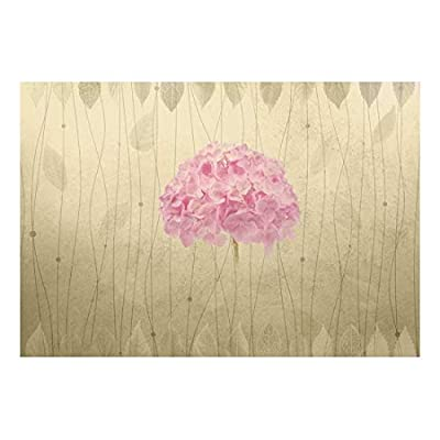 Pink Hydrangea with Leaf Striped Textured Background - Wall Mural, Removable Sticker, Home Decor - 66x96 inches