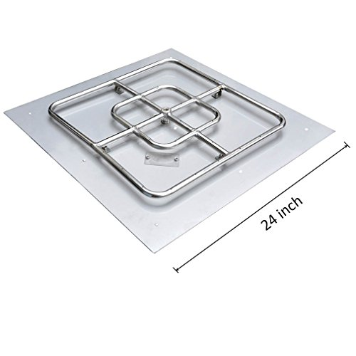 Onlyfire Stainless Steel Square Fire Pit Burner with Pan, (24' Natural Gas Burner)