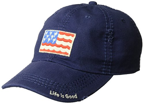 Life is Good Sunwashed Chill Cap, Palm Wave,Darkest Blue, One Size