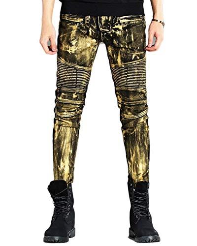 Oro Vintage Uomo Da Slim A Jeans Regular Ragazzi Gamba Dritta Moda Stretch Classiche In Fit Denim Pantaloni vawTxT1q