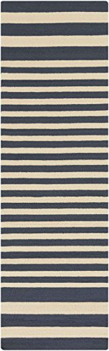 picture of Surya RAI1155-912 Hand Hooked Outdoor Area Rug, 9 by 12-Feet, Navy/Beige