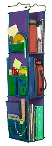 1/2 Storage Pocket - LockerWorks 3 Shelf Hanging Locker Organizer, 22-38 Inches Tall, Side Pockets, Suspends from Hooks, Shelf, or Closet Rod - Purple/Teal