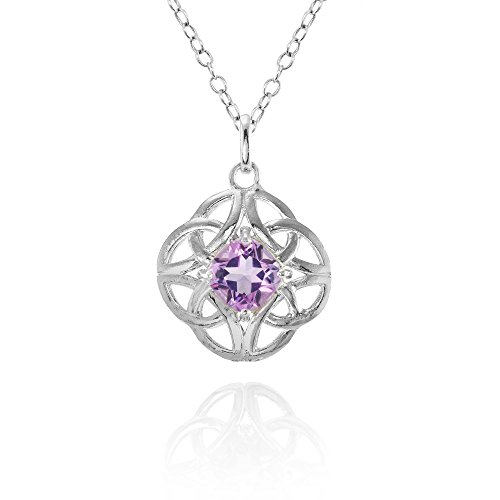 Sterling Silver Amethyst Celtic Filigree Cushion Cut Round Necklace