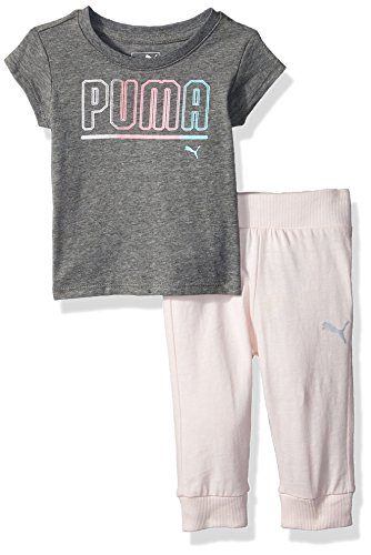 (PUMA Baby Girls' 2 Piece Tee & Capri Joggers Set, Medium Heather Grey, 0-3 Months)
