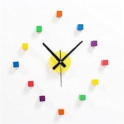 VariousWallClock Wall clock household pendulum clocks Creative colorful square clock diy real wood stereo diy fun combination clock watch A
