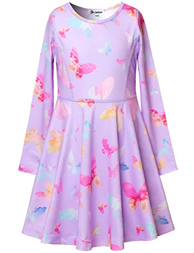 Jxstar Butterfly Dresses Girls Purple Kids Long Sleeve Clothes Fall Outfits Cotton 7-16 by Jxstar