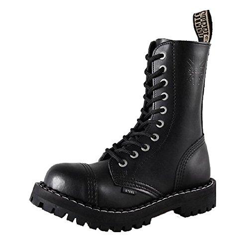 Steel 10 Buchi Stivali Anfibi in Pelle Color Nero punta di ferro punk con tappo in acciaio Noir