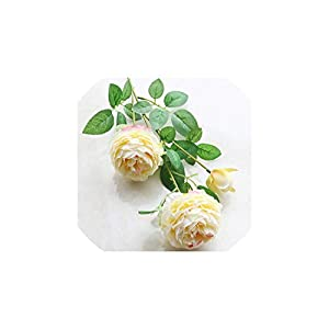 6Pcs Rose Artificial Flowers 3 Heads White Peonies Silk Flowers Wedding Decor for Home Peony Bouquet,F 29