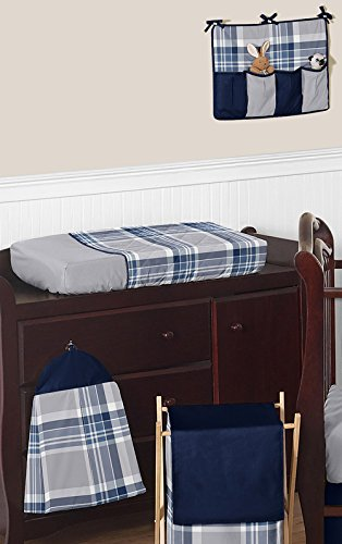 Rustic-Designer-Navy-Blue-and-Gray-Boys-Plaid-Baby-Bedding-11-Piece-Crib-Set-without-bumper