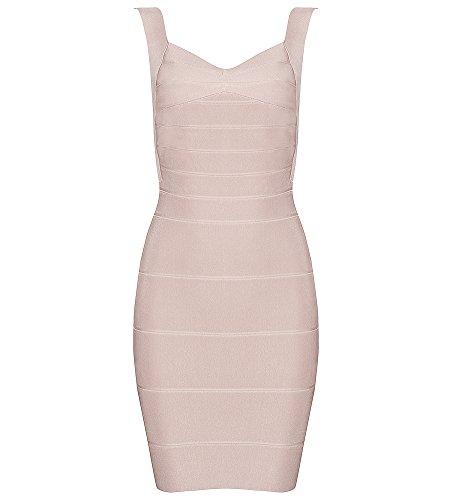 c71da13b257 Hego Women s Bandage Dress Backless Stripe Sleeveless Bodycon Party Dresses  H612-1 (XS