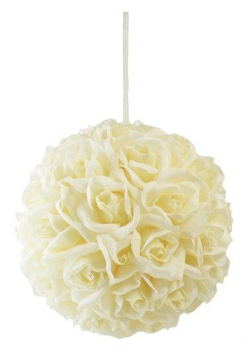 Garden Rose Kissing Ball - Ivory - 10 Inch Pomander Extra Large ()