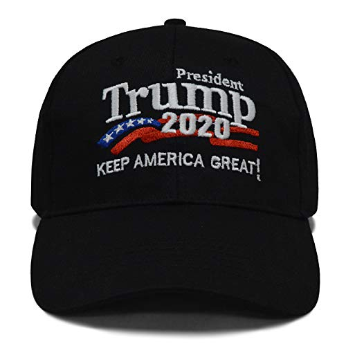 - Besti Donald Trump 2020 Keep America Great Cap Adjustable Baseball Hat with USA Flag - Breathable Eyelets (Black 007)