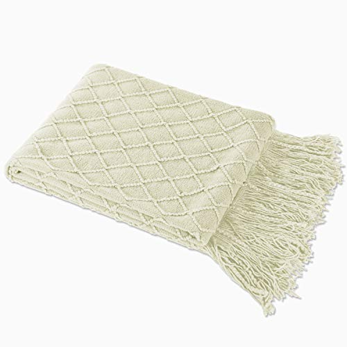 - LAGHCAT Throw Blanket for Couch Beige Diamond Pattern Blanket Cross Woven Throws Christmas Knitted Blankets with Decorative Fringe - 50 x 80 Inch