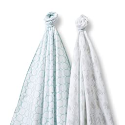 SwaddleDesigns SwaddleDuo, Set of 2 Swaddling Blankets, Cotton Muslin + Premium Cotton Flannel, Mod Elephant and SeaCrystal Chickies Duo